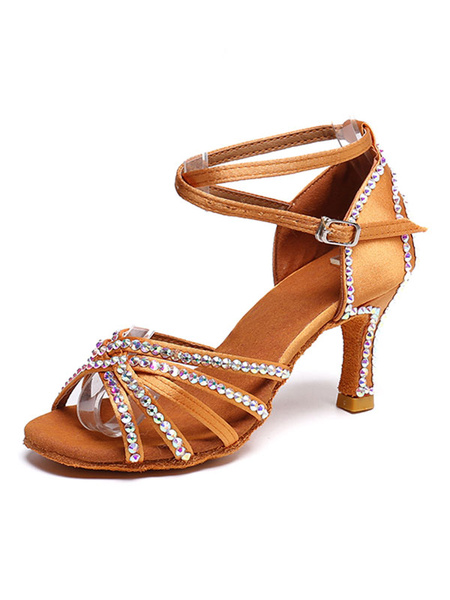 Milanoo Satin Dance Shoes Brown Open Toe Rhinestones Criss Cross Latin Dance Shoes Women Ballroom Shoes