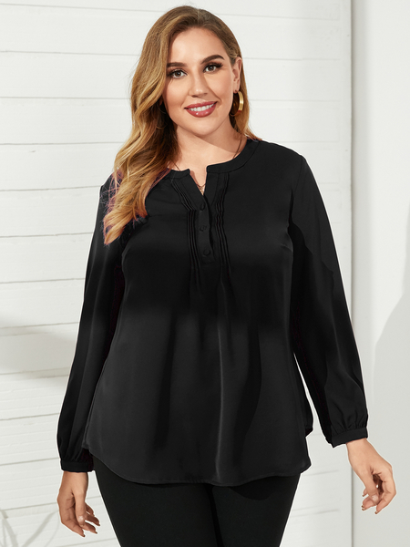 YOINS Plus Size V-neck Long Sleeves Blouse