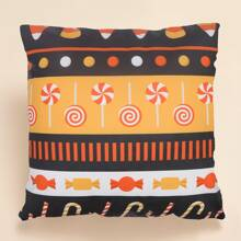 Halloween Candy Print Cushion Cover Without Filler