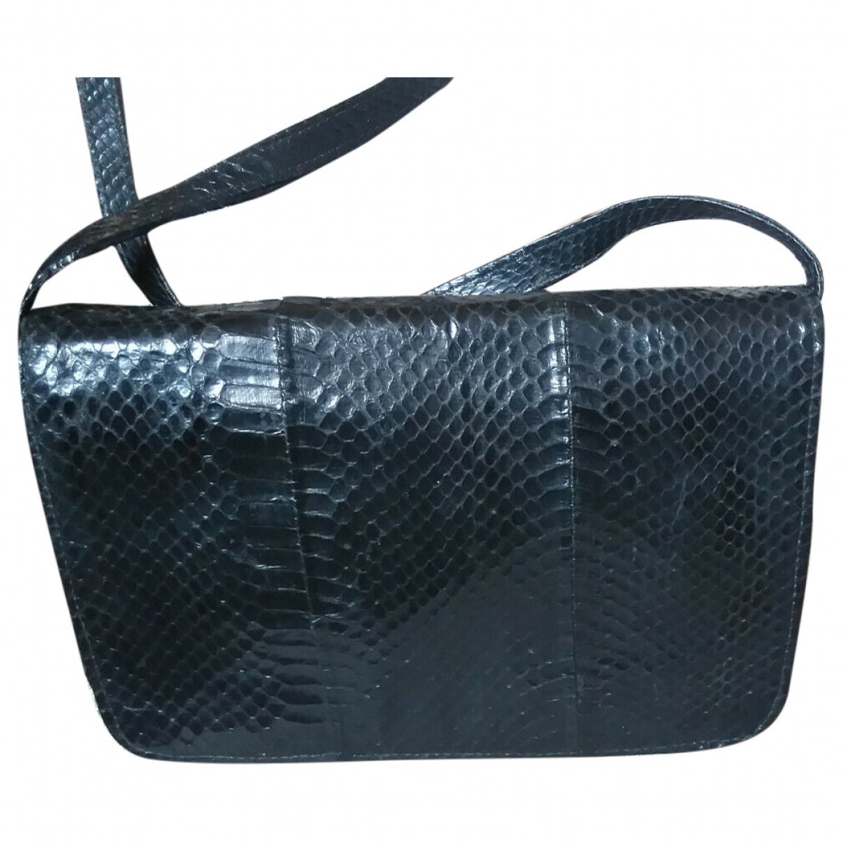 Non Signé / Unsigned \N Black Python handbag for Women \N