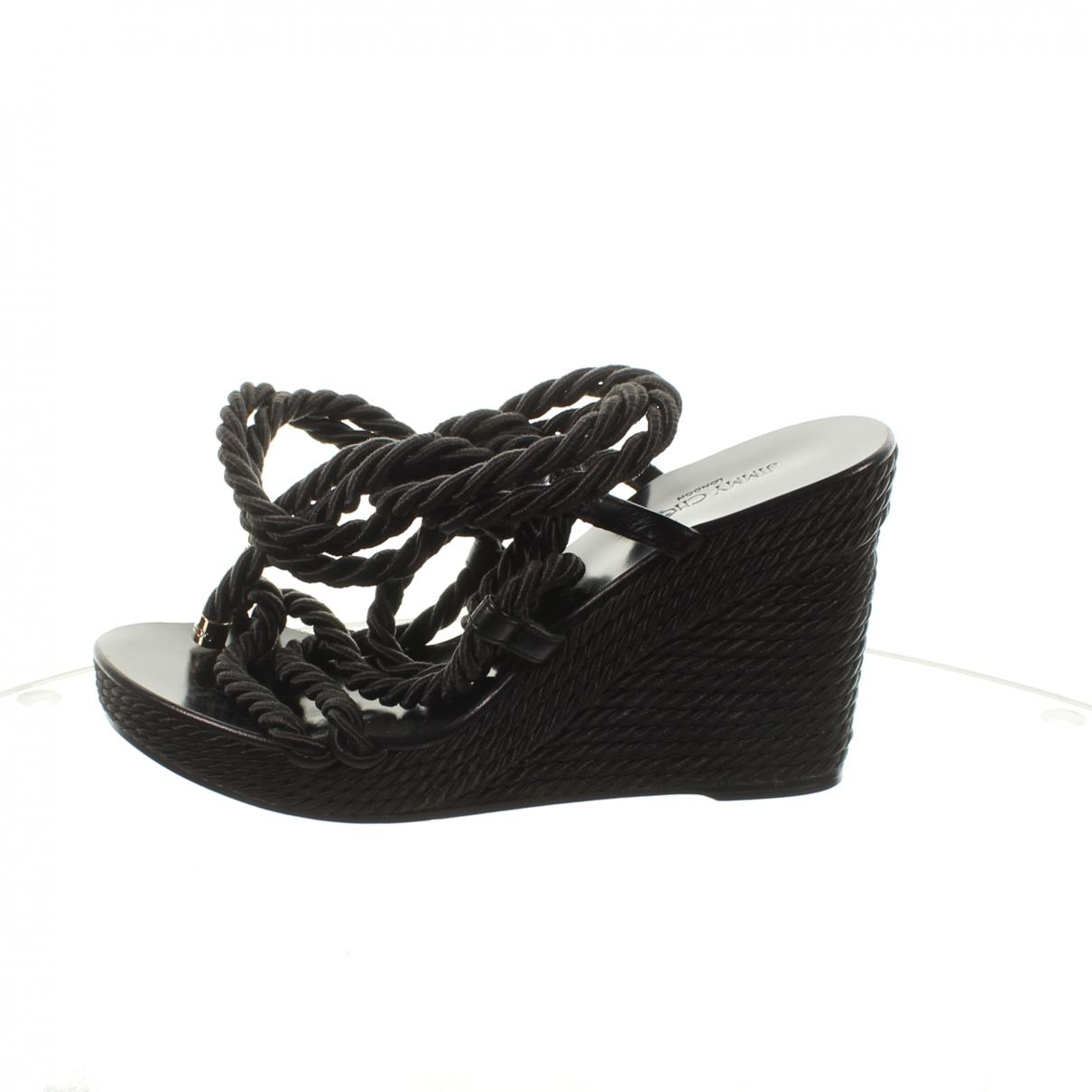 Jimmy Choo \N Black Cloth Flats for Women 39.5 EU