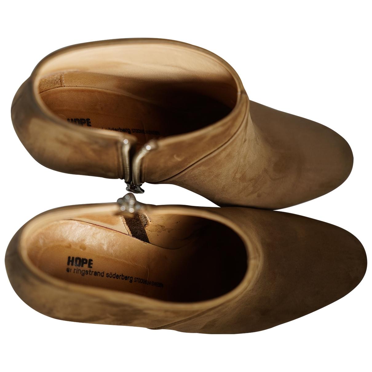 Hope - Boots   pour femme en suede - marron