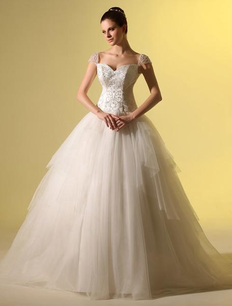 Milanoo Vestido de novia de color marfil con escote de corazon