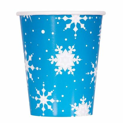 Tasses de papier de fête de Noël de flocon de neige argent 9oz, 8pcs / pack