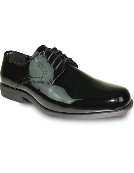 Men's Tuxedo Black Patent Oxford Wedding Lace Up Dress Shoe