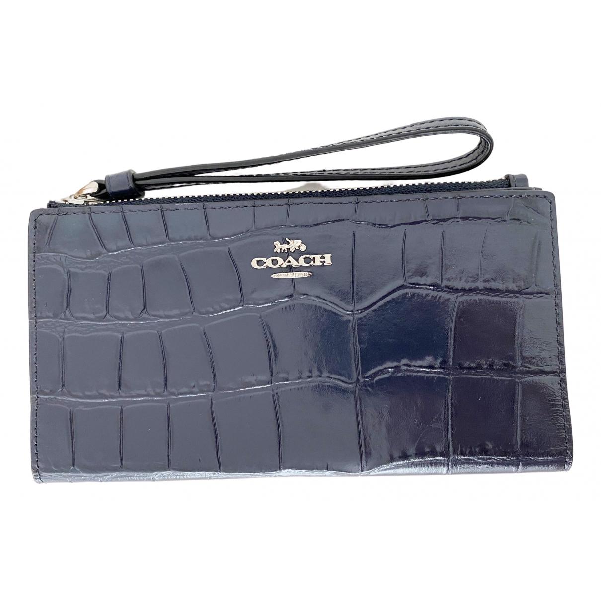 Coach - Portefeuille   pour femme en cuir - bleu