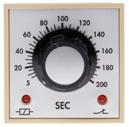 Tempatron DP-NO/NC Timer Relay - 5 → 200 s, 2 Contacts, ON Delay Energise, Panel Mount, Plug In
