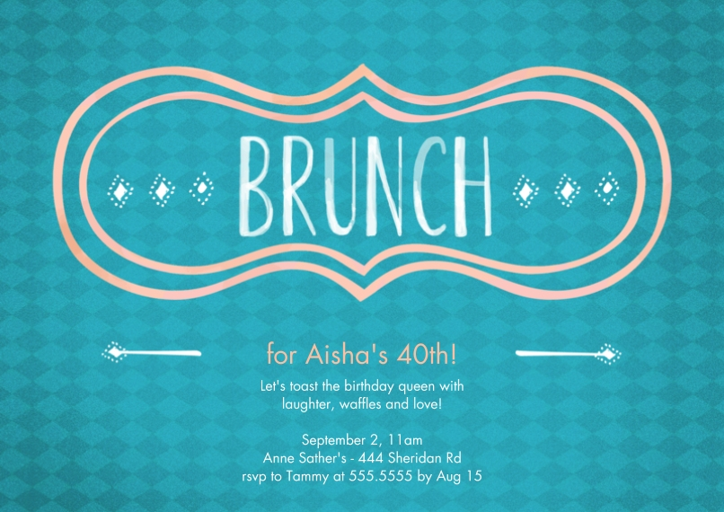 Birthday Party Invites 5x7 Cards, Premium Cardstock 120lb with Scalloped Corners, Card & Stationery -Brunch