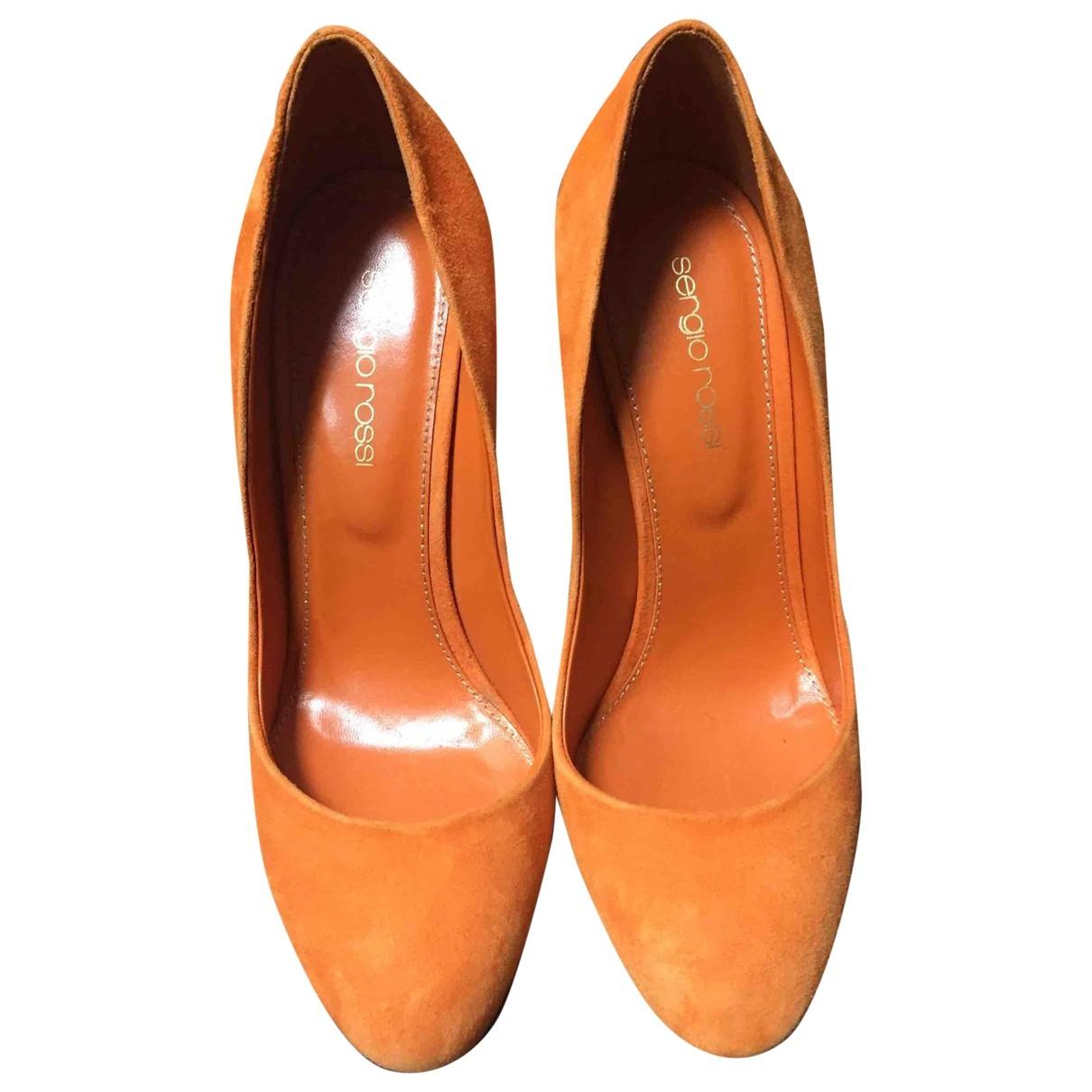 Sergio Rossi - Escarpins   pour femme en suede - orange