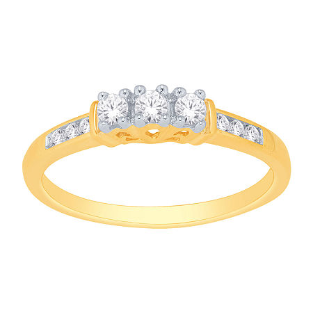 Love Lives Forever 1/4 CT. T.W. Genuine Diamond 3-Stone Ring, 9 , No Color Family