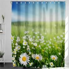 1 Stueck Duschvorhang mit Blumen Muster und 12 Haken