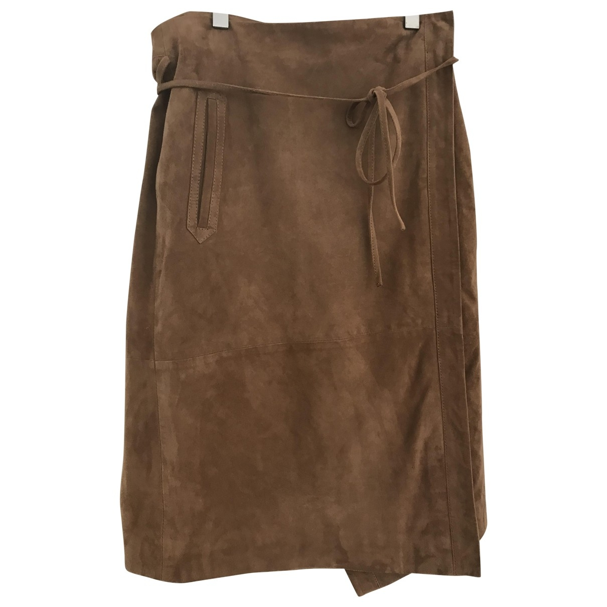 Non Signé / Unsigned \N Camel Suede skirt for Women M International