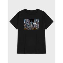T-Shirt mit Strass Muster und kurzen Ärmeln