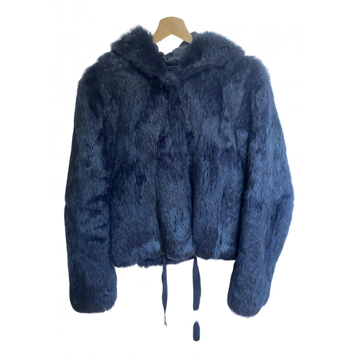 Sandro Fall Winter 2019 Blue Rabbit Leather jacket for Women 36 FR