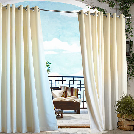 Gazebo Solid Grommet-Top Outdoor Curtain Panel, One Size , White