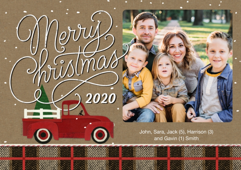 Christmas Photo Cards 5x7 Cards, Premium Cardstock 120lb with Rounded Corners, Card & Stationery -Red Truck Christmas 2020 by Hallmark