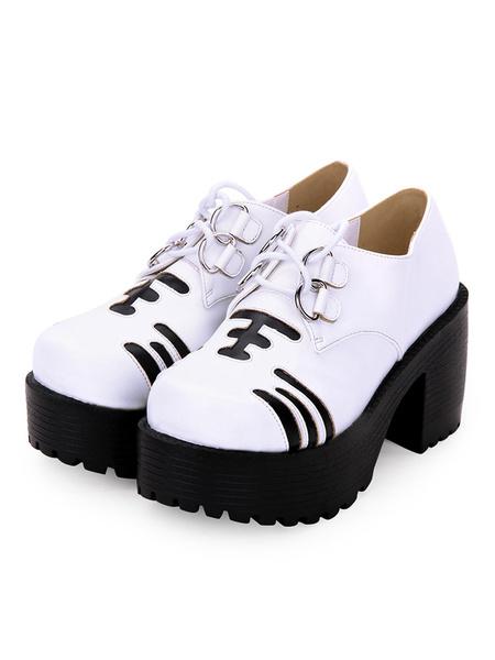 Milanoo Sweet Lolita Footwear Print Two Tone Lace Up Platform White Lolita Shoes