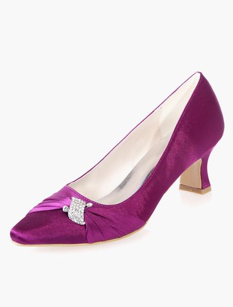Milanoo Low Heel Square Toe Bridal Pumps