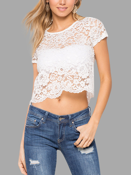 Yoins White Lace See Through Short Sleeves Cropped Top