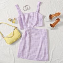 Crop Plaid Cami Top & Skirt Set