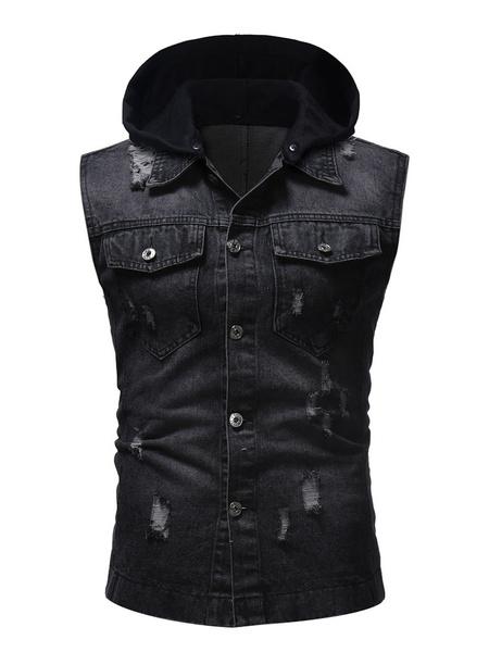 Milanoo Men Denim Jacket Patchwork Distressed Pocket Sleeveless Hooded Gilet