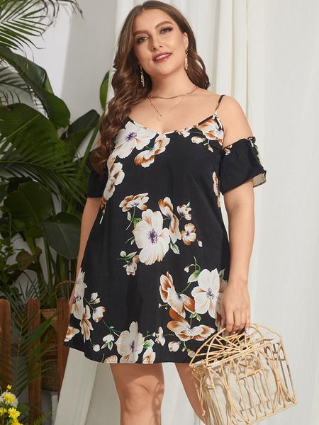 YOINS Plus Size Cold Shoulder Floral Print Backless Design Half Sleeves Dress