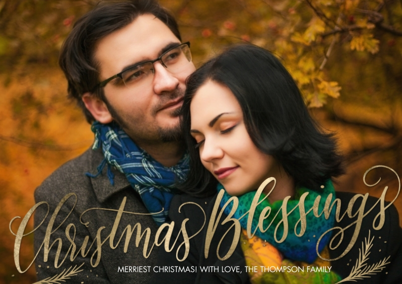 Christmas Photo Cards 5x7 Cards, Premium Cardstock 120lb, Card & Stationery -Christmas Script Blessings by Tumbalina