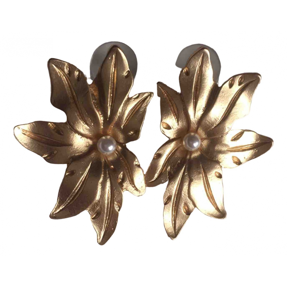 Non Signe / Unsigned Motifs Floraux OhrRing in  Gold Metall