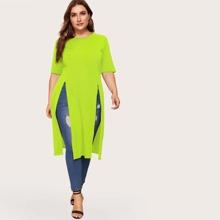 Camiseta larga con abertura verde neon-grande