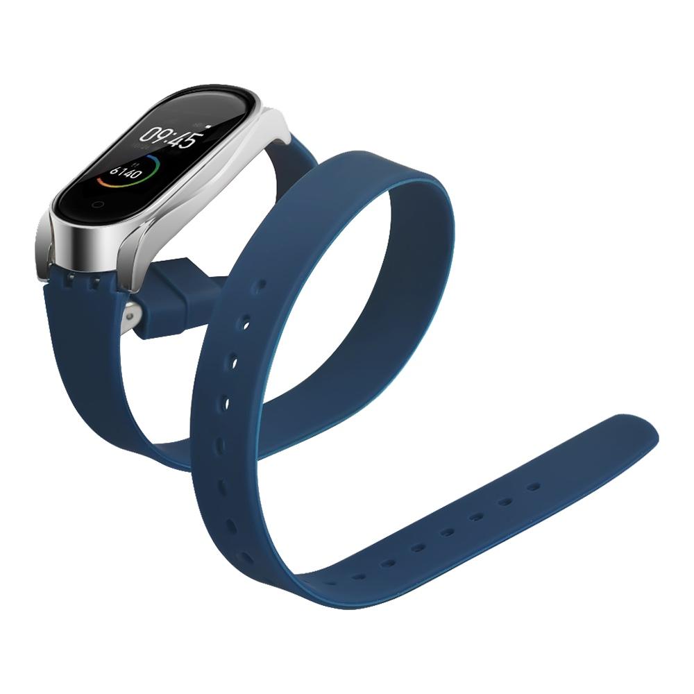 Replacement Strap For Xiaomi Mi Band 3/4 Smart Bracelet Long Silicone Belt Buckle Version - Blue