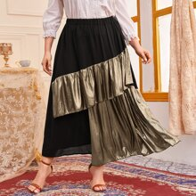 Faldas Extra Grande Capas relajadas Monocolor Negro Glamour