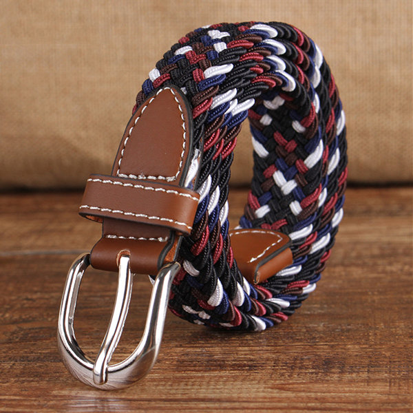 95CM Casual Elastic Canvas Belt Pin Buckle Knitting Canvas Belt Outdoor Travel Waistband