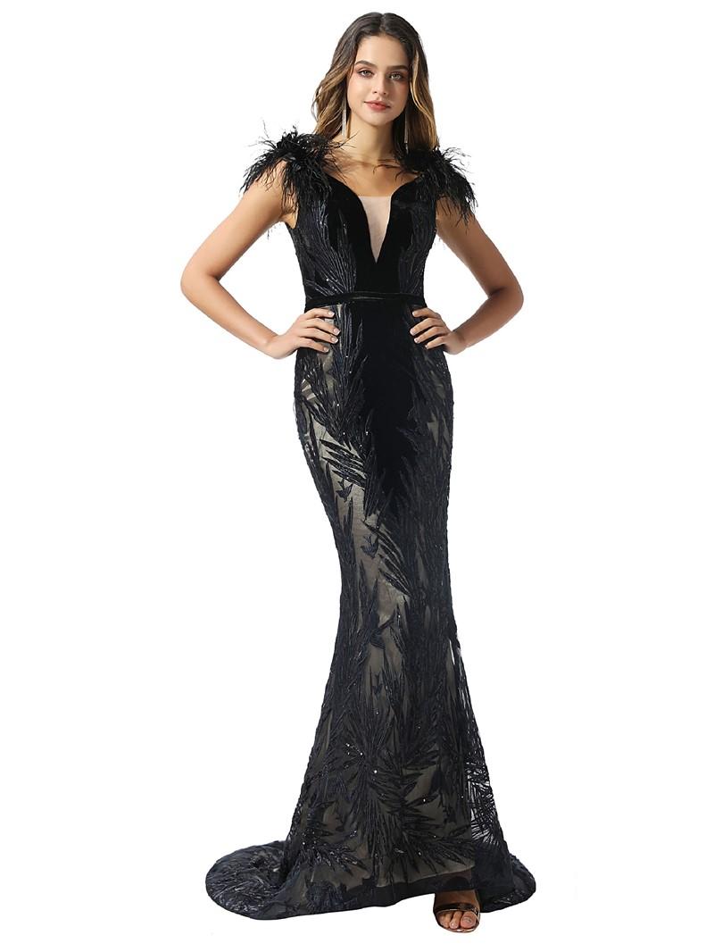 Ericdress Feather V-Neck Mermaid Balck Evening Dress 2020