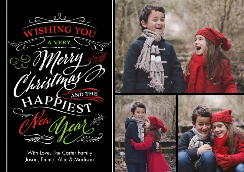 Christmas Photo Cards 5x7 Cards, Premium Cardstock 120lb with Scalloped Corners, Card & Stationery -Christmas Wishes Swirls