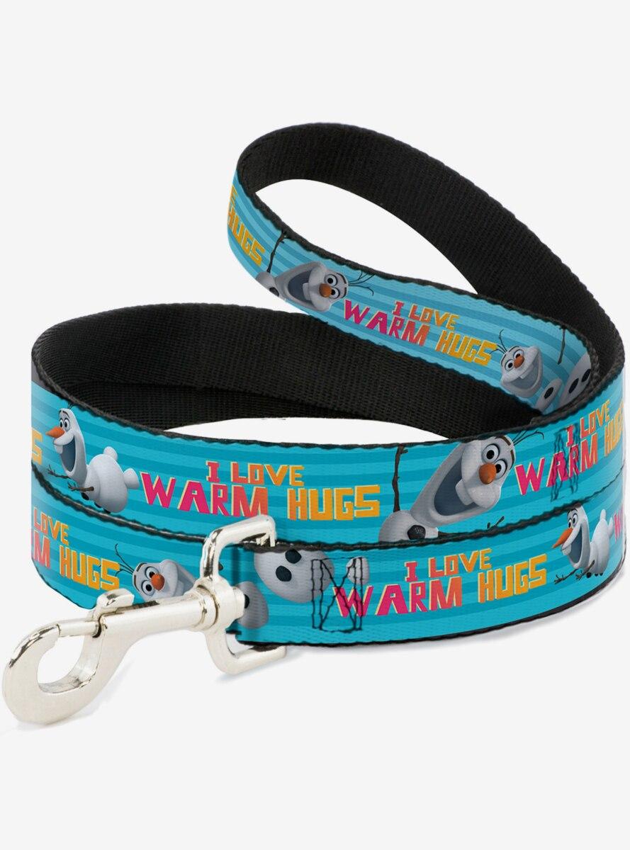 Disney Frozen Olaf Pose I Love Warm Hugs Stripe Blues Dog Leash 6 Ft