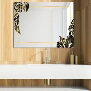 Designart 'Capital Gold Botanical Bliss 12' Glam Mirror - Modern Vanity Mirror (39.4 in. wide x 29.5 in. high)