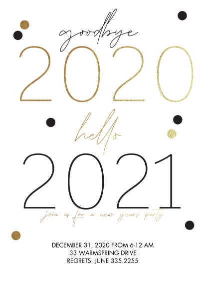 Party Invitations 5x7 Cards, Premium Cardstock 120lb with Rounded Corners, Card & Stationery -Hello 2021