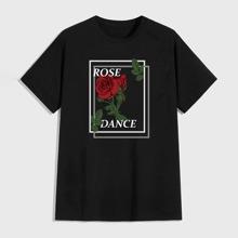Men Rose & Slogan Graphic Tee