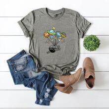 Camiseta con estampado de figura y planeta de dibujos animados - grande