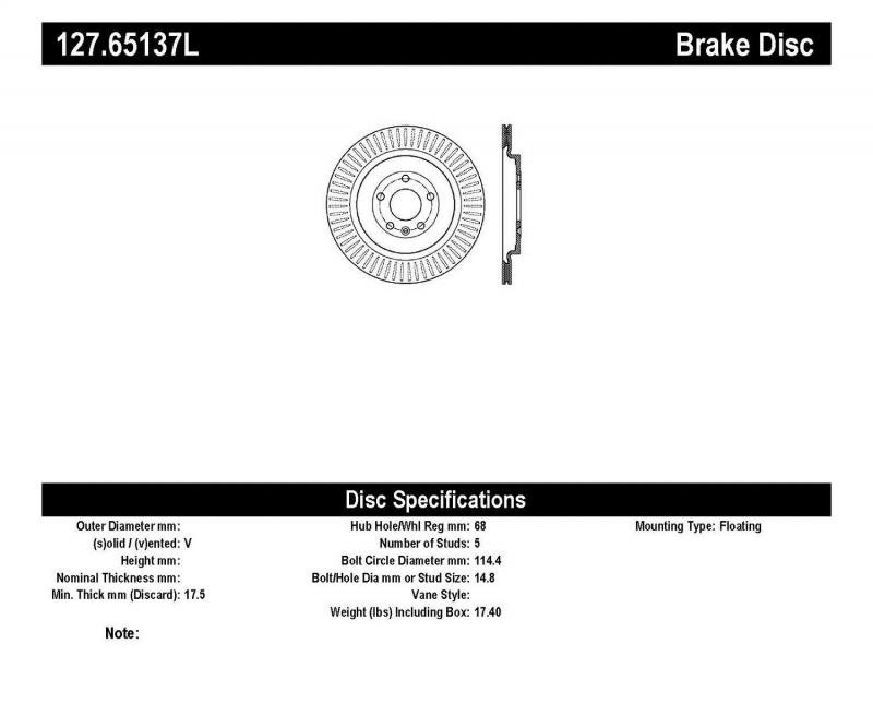 StopTech 127.65137L Sport Drilled/Slotted Brake Rotor; Rear Left Rear Left