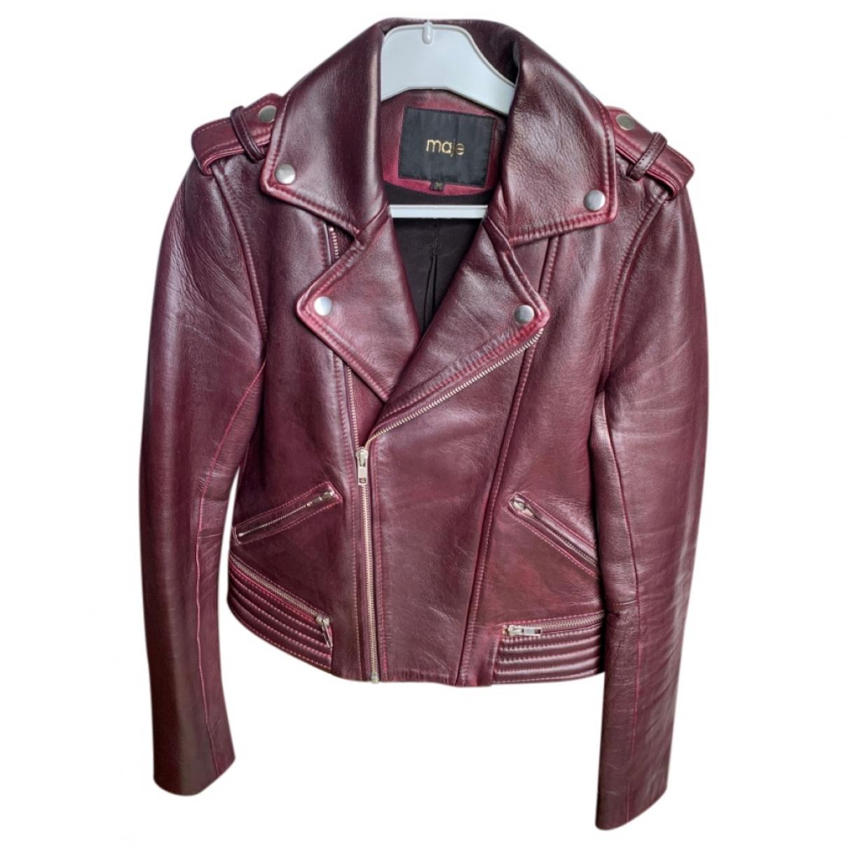 Maje \N Burgundy Leather jacket for Women 36 FR