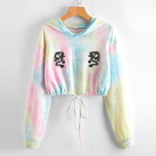 Tie Dye And Chinese Dragon Graphic Hoodie