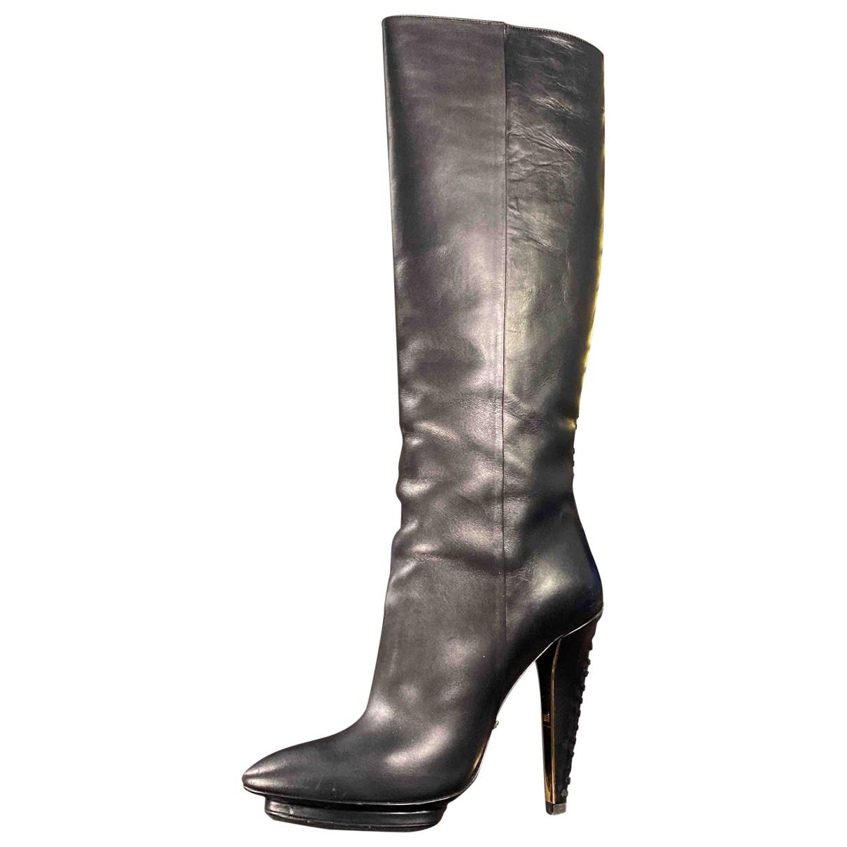 Roberto Cavalli - Bottes   pour femme en cuir - noir
