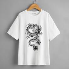 Camiseta de niñas de hombros caidos con estampado de dragon