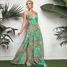 Maxi Kleid mit V Ausschnitt, Kreuzgurte Band hinten und Pflanzen Muster