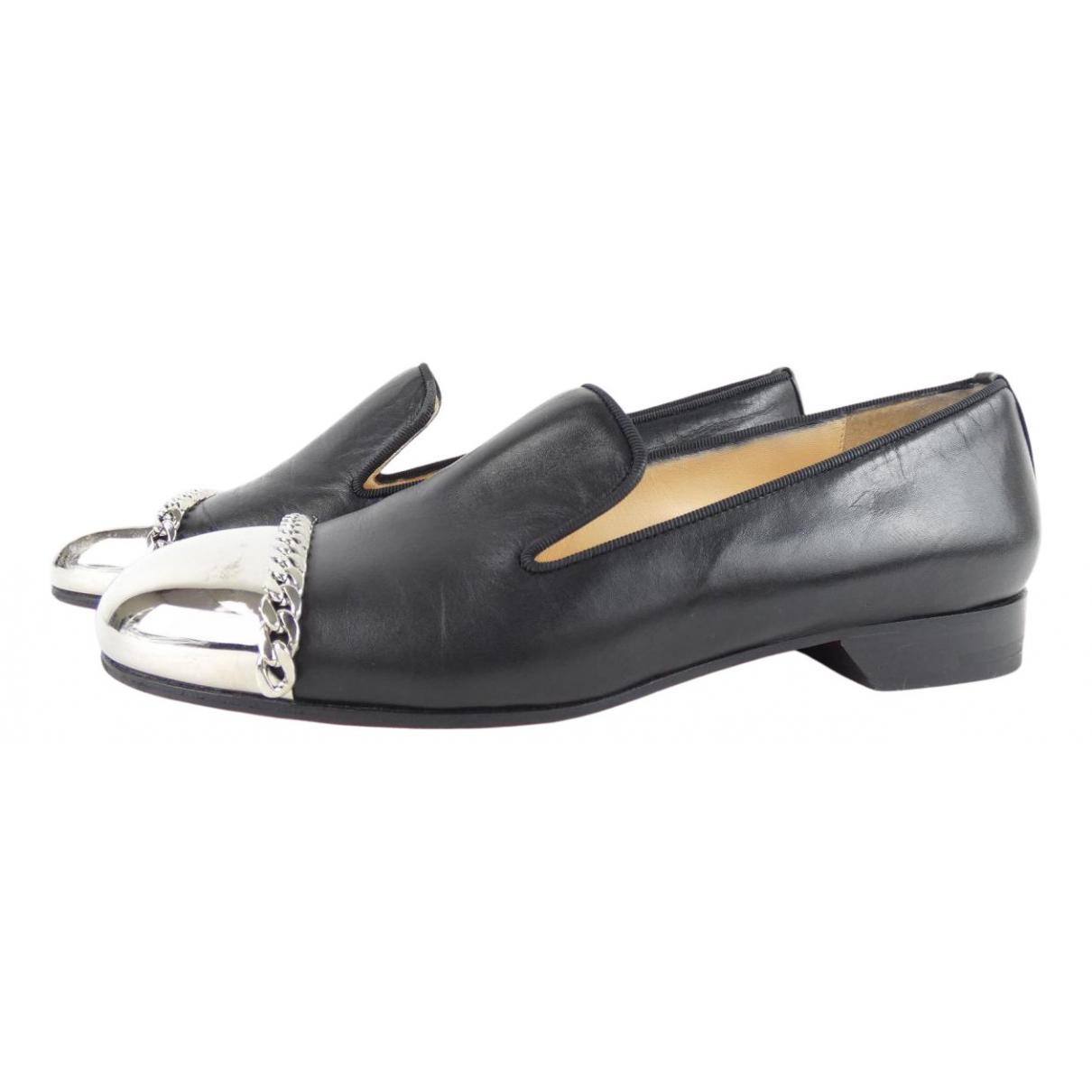 Christian Louboutin N Black Leather Flats for Women 35 EU