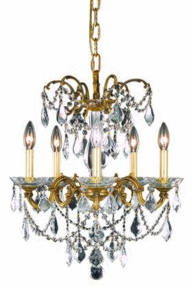 9705D18FG/SS 9705 Athena Collection Hanging Fixture D18in H19in Lt: 5 French Gold Finish (Swarovski Strass/Elements