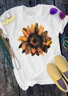 Leopard Sunflower O-Neck T-Shirt Tee - White