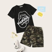 Jungen Top mit Buchstaben Grafik und Camo Shorts Set