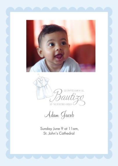 Christening + Baptism 5x7 Cards, Premium Cardstock 120lb with Rounded Corners, Card & Stationery -Spanish - Fancy Little Suit
